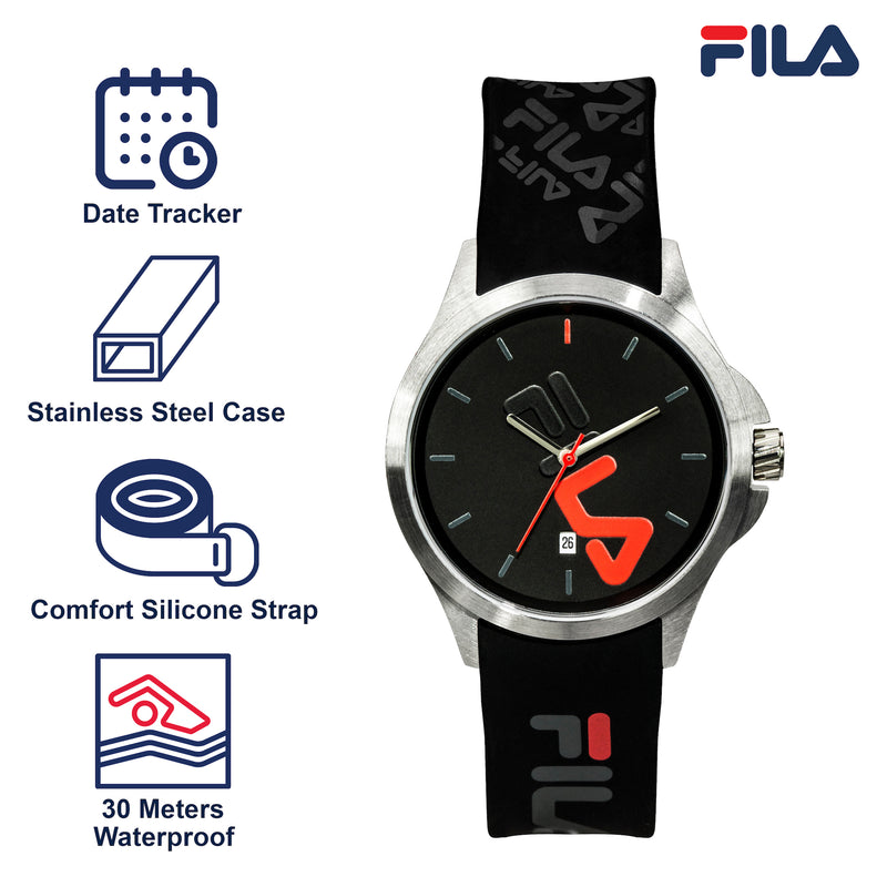 Picture with the key features of FILA | 38-181-007 | Men's and Women's Black and Stainless Steel Analog Watch | Date Tracker