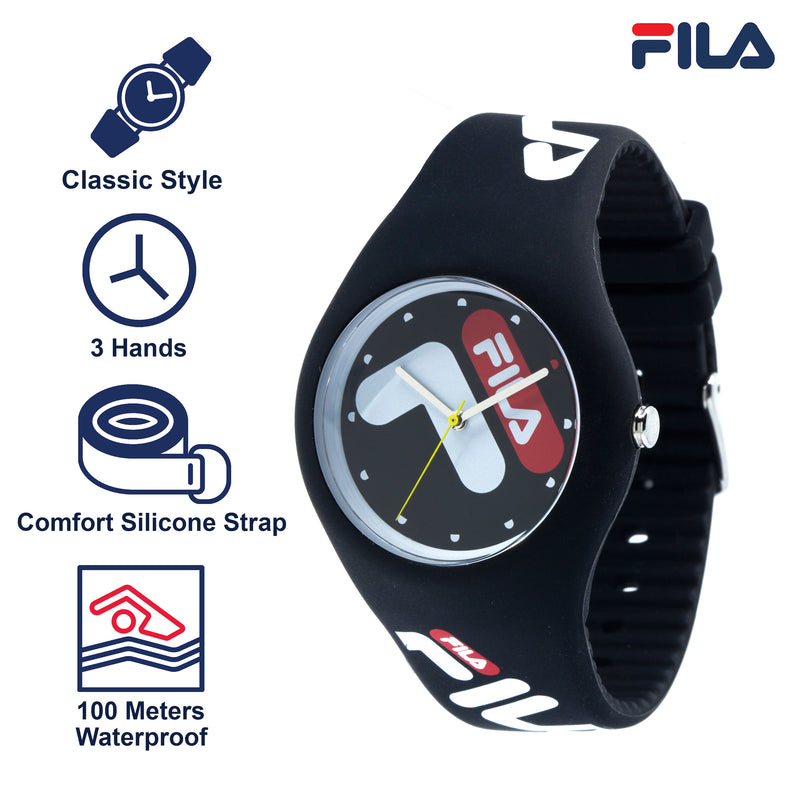 Picture with the key features of FILA | 38-185-001 | Men's and Women's Black Analog Watch | Water Resistant