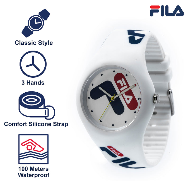 Picture with the key features of FILA | 38-185-003 | Men's and Women's White Analog Watch | Water Resistant