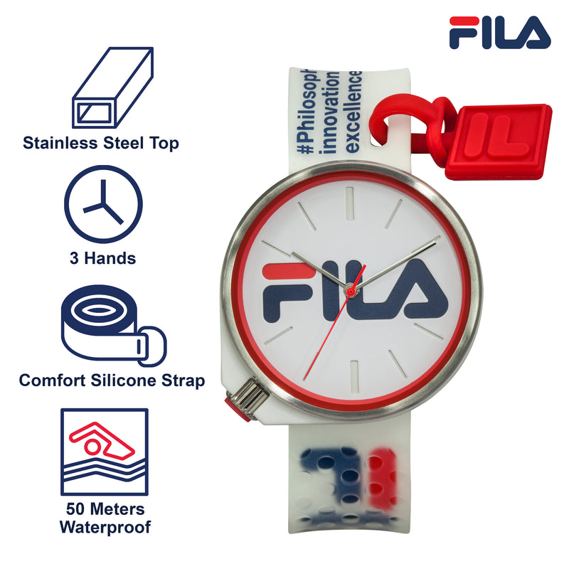 Picture with the key features of FILA | 38-199-004 | Men's and Women's White Analog Watch | Water Resistant