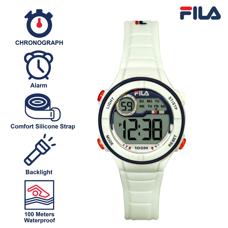 Picture with the key features of FILA | 38-205-002 | Kids Unisex White Digital Watch | Date Tracker | Alarm | Stopwatch | Light Up Face