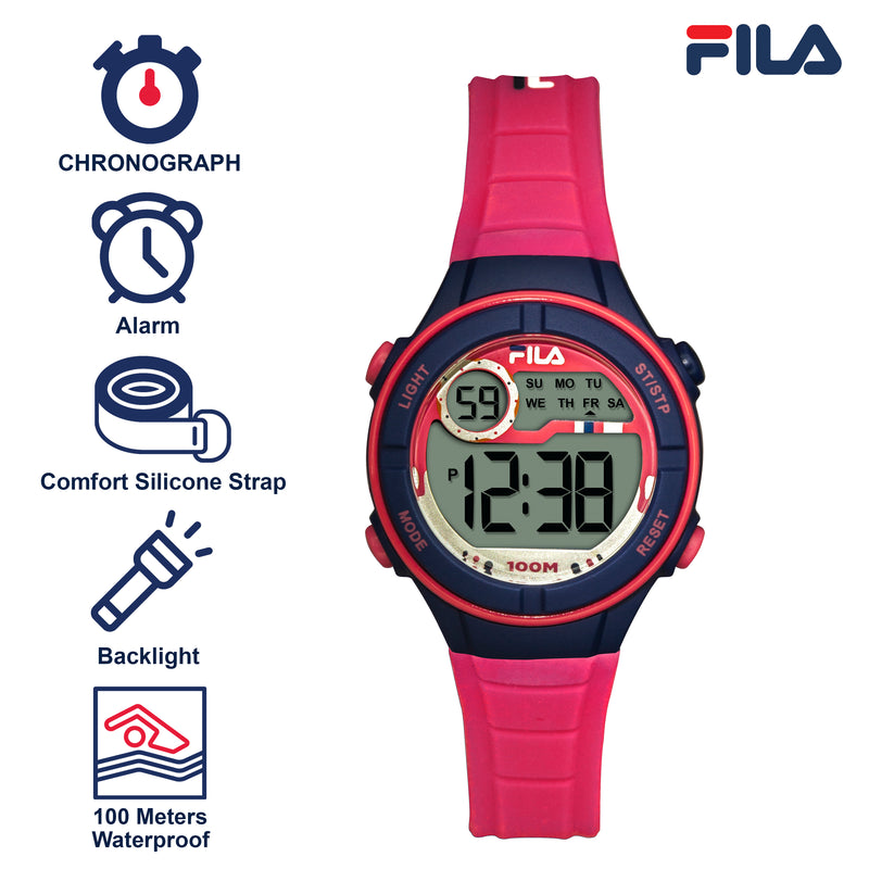 Picture with the key features of FILA | 38-205-004 | Kids Unisex Hot Pink and Purple Digital Watch | Date Tracker | Alarm | Stopwatch | Light Up Face