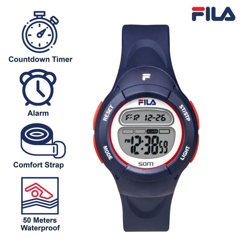 Picture with the key features of FILA | 38-213-001 | Kids Unisex Blue Digital Watch | Date Tracker | Alarm | Stopwatch | Light Up Face