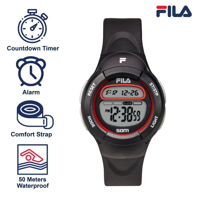 Picture with the key features of FILA | 38-213-002 | Kids Unisex Black Digital Watch | Date Tracker | Alarm | Stopwatch | Light Up Face