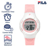 Picture with the key features of FILA | 38-213-005 | Kids Unisex Pink and White Digital Watch | Date Tracker | Alarm | Stopwatch | Light Up Face