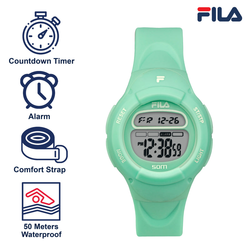 Picture with the key features of FILA | 38-213-007 | Kids Unisex Green Digital Watch | Date Tracker | Alarm | Stopwatch | Light Up Face