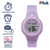 Picture with the key features of FILA | 38-213-008 | Kids Unisex Purple Digital Watch | Date Tracker | Alarm | Stopwatch | Light Up Face