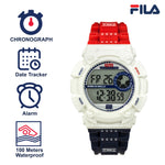Picture with the key features of FILA | 38-312-003 | Men's and Women's Red, White, and Blue Digital Watch | Date Tracker | Stopwatch | Alarm | Light Up Face