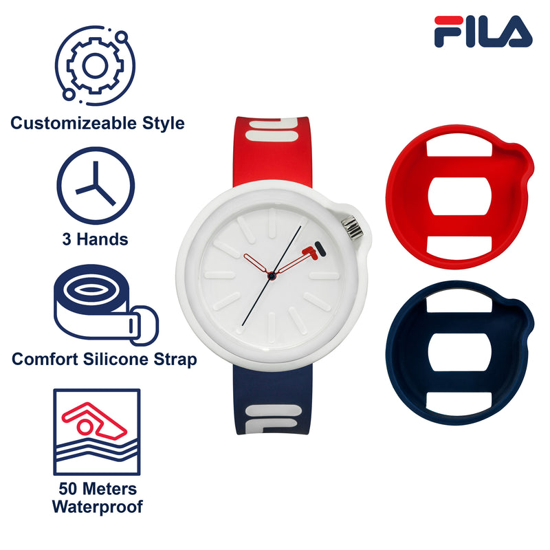Picture with the key features of FILA | 38-315-001DBRD | Men's and Women's Red, White, and Blue Analog Watch | Water Resistant | Interchangeable Case