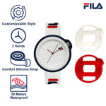 Picture with the key features of  FILA | 38-315-003WHRD | Men's and Women's White and Blue Analog Watch | Water Resistant | Interchangeable Case