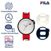 Picture with the key features of FILA | 38-315-005WHDB | Men's and Women's Red and Blue Analog Watch | Water Resistant | Interchangeable Case