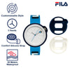 Picture with the key features of FILA | 38-315-007DBWH | Men's and Women's Blue Analog Watch | Water Resistant | Interchangeable Case