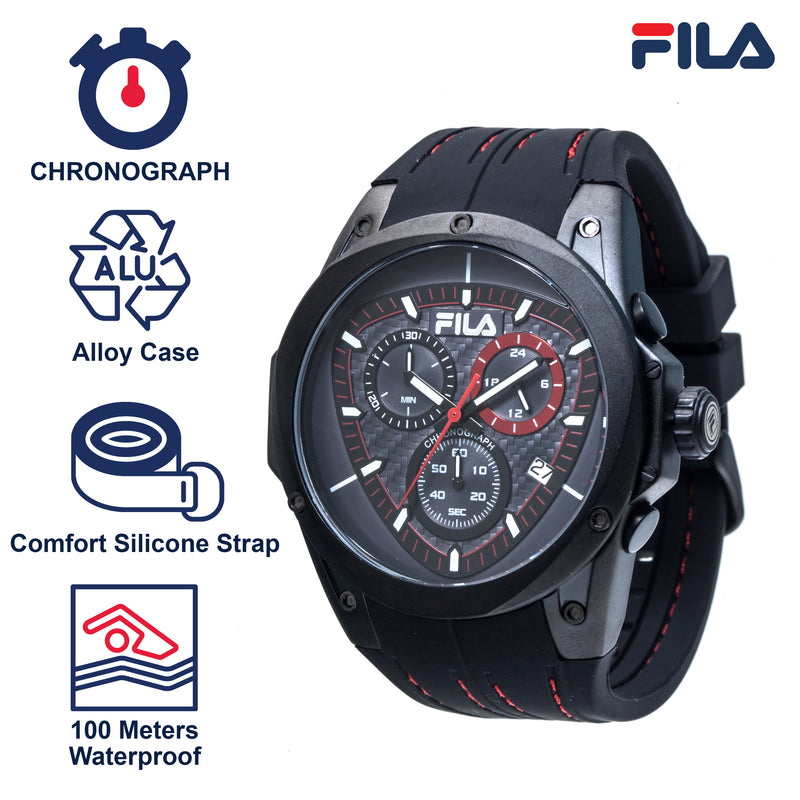 Picture with the key features of FILA | 38-821-004 | Men's and Women's Black Analog Watch | Water Resistant | Stopwatch