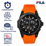 Picture with the key features of FILA | 38-821-006 | Men's and Women's Orange and Black Analog Watch | Water Resistant | Stopwatch