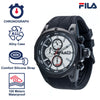 Picture with the key features of FILA | 38-823-006 | Men's and Women's Black and White Analog Watch | Water Resistant | Stopwatch