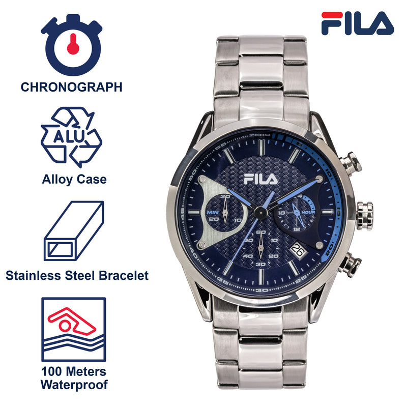 Picture with the key features of FILA | 38-827-004 | Men's and Women's Elegant Stainless Steel Analog Watch | Water Resistant | Stopwatch