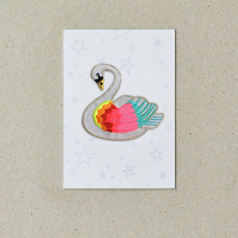 Iron on Patch Swan - Neon Multi