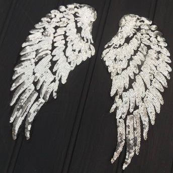 Iron On Sequin Angel Wings - Small Silver