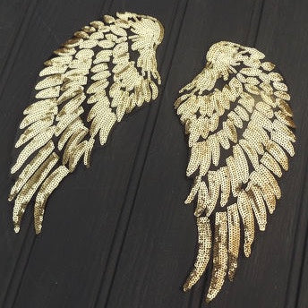 Iron On Sequin Angel Wings - Gold Large
