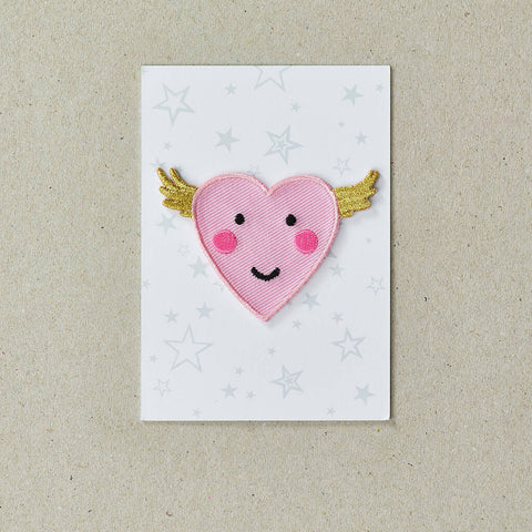 Iron on Patch Flying Heart - Pink Neon
