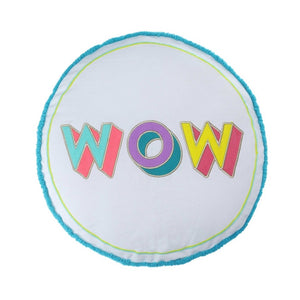 WOW Embroidered Round Cushion