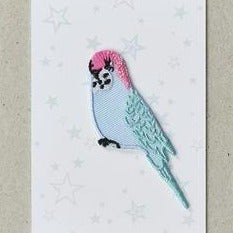 Iron on Patch Budgie - Blue