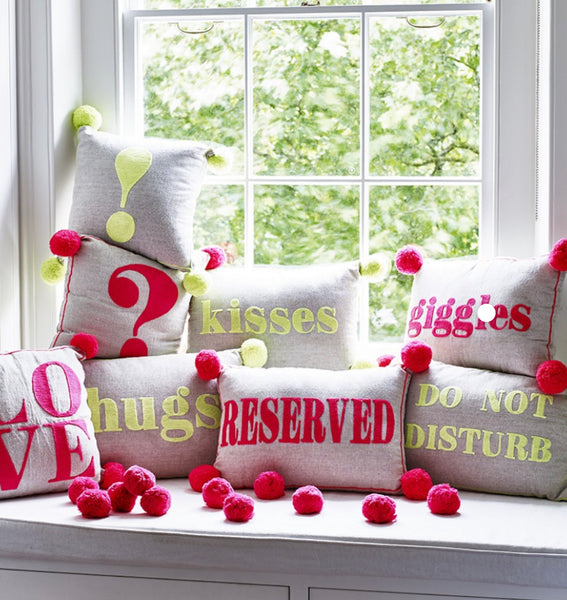 Question Mark? Cushion Neon Coral and Linen