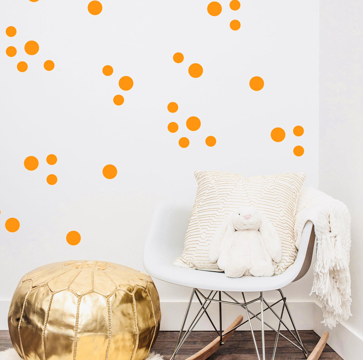 Neon Orange Dots Wall Stickers 72
