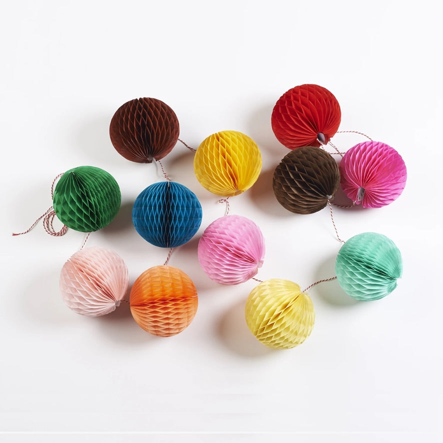 Brightly Coloured Paper Ball Garland