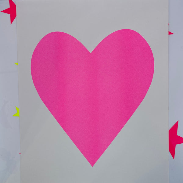 Hot Pink Heart Print Large