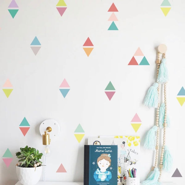 Triangle Wall Stickers Multi Colours 54 pieces
