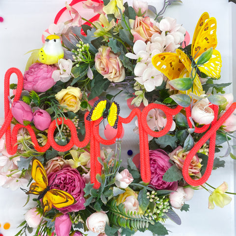 Happy Wreath with pretty birds and butterflies