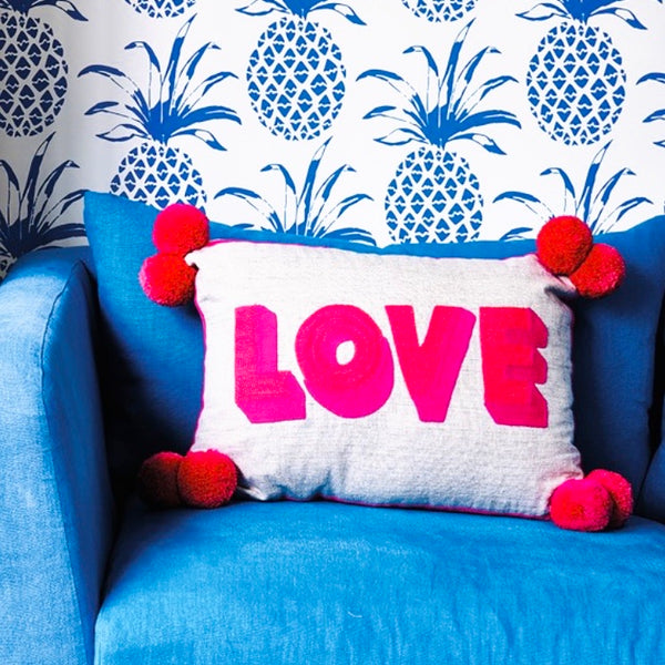 LOVE Embroidered Cushion on Linen Pink/Coral