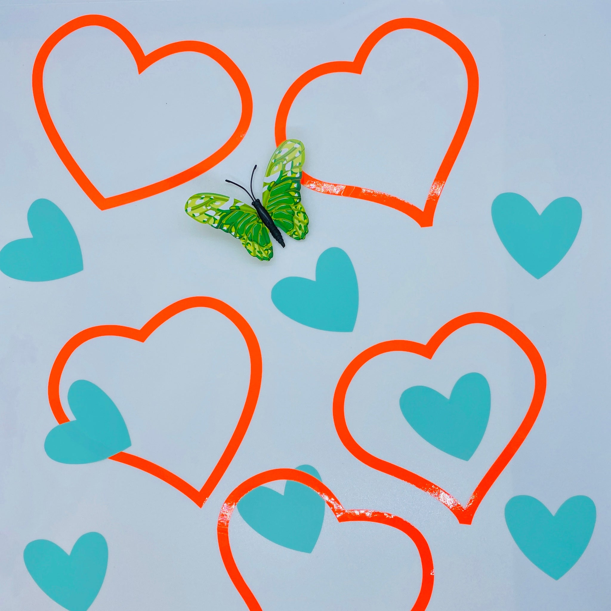 Set of 15 Hearts Wall Stickers Neon Orange