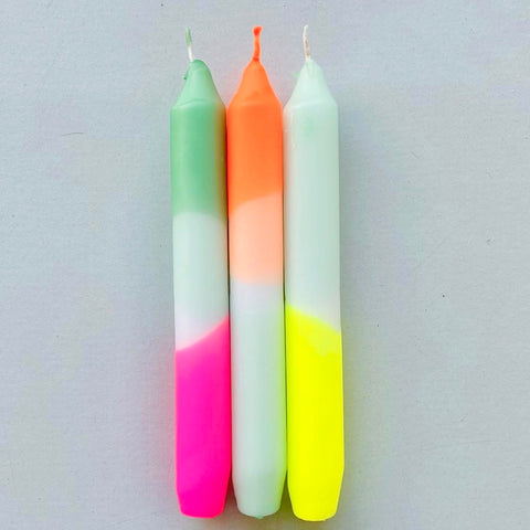 Neon Hand Dipped Candles- Mint Kisses