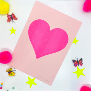 Pink Neon Heart on Blush Print A4