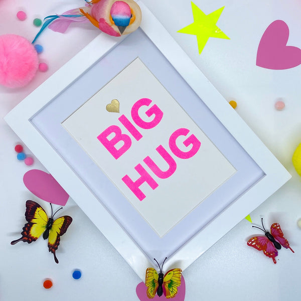 Small Pink Neon BIG HUG - White Frame
