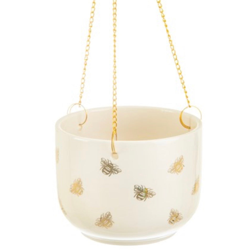 Gold Bee Hanging Planter