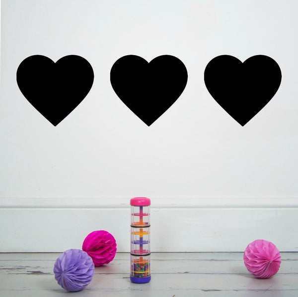 3 Large Heart Stickers Black