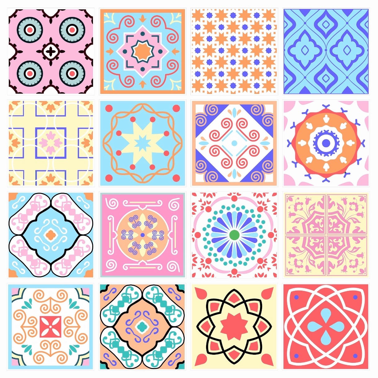 Colourful Tile Stickers 10cm x 10cm (16 style 1)