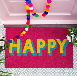 Happy Doormat  Pink & Yellow