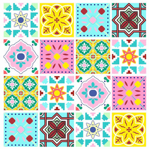 Colourful Pattern-Tile Stickers 15cm x 15cm (16 style 3)