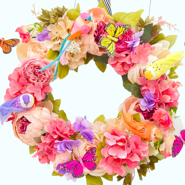 Large Spring Wreath With Birds & Butterflies
