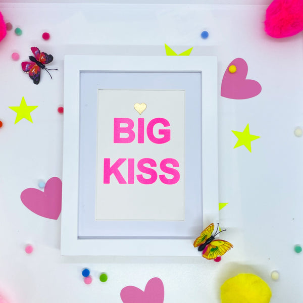 Small Pink Neon BIG KISS - White Frame