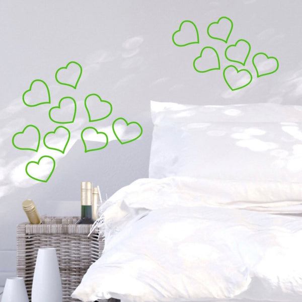 Set of 15 Hearts Wall Stickers Neon Pink