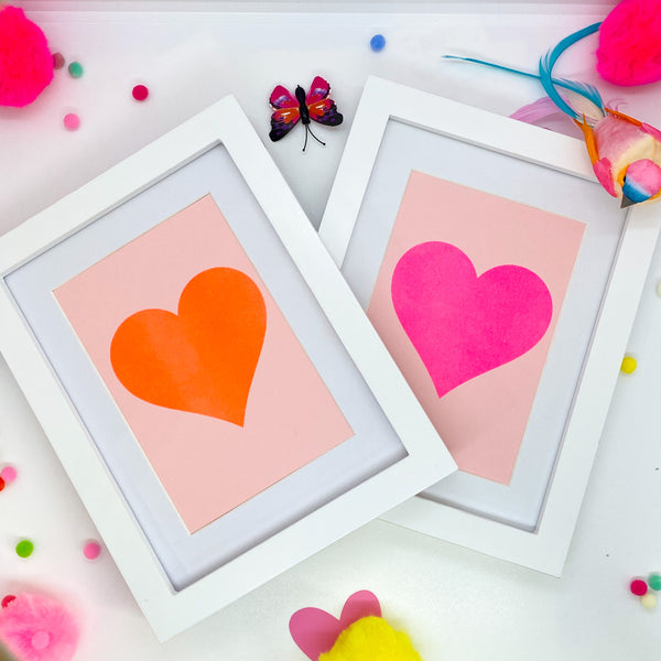 Small Pink Neon Heart on Blush - White Frame
