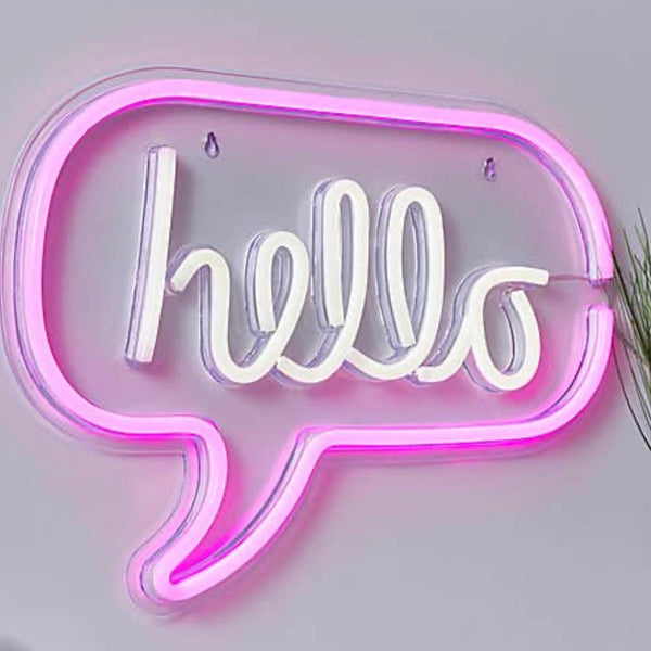 Neon Hello Wall Light Pink & White