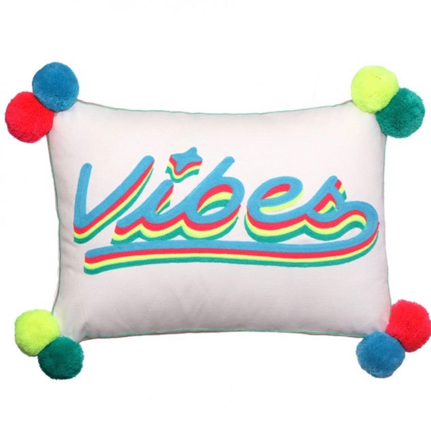 VIBES Embroidered Cushion on Linen Multi