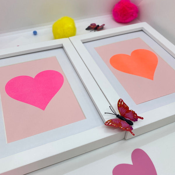 Set of Two Neon Heart Prints - Framed