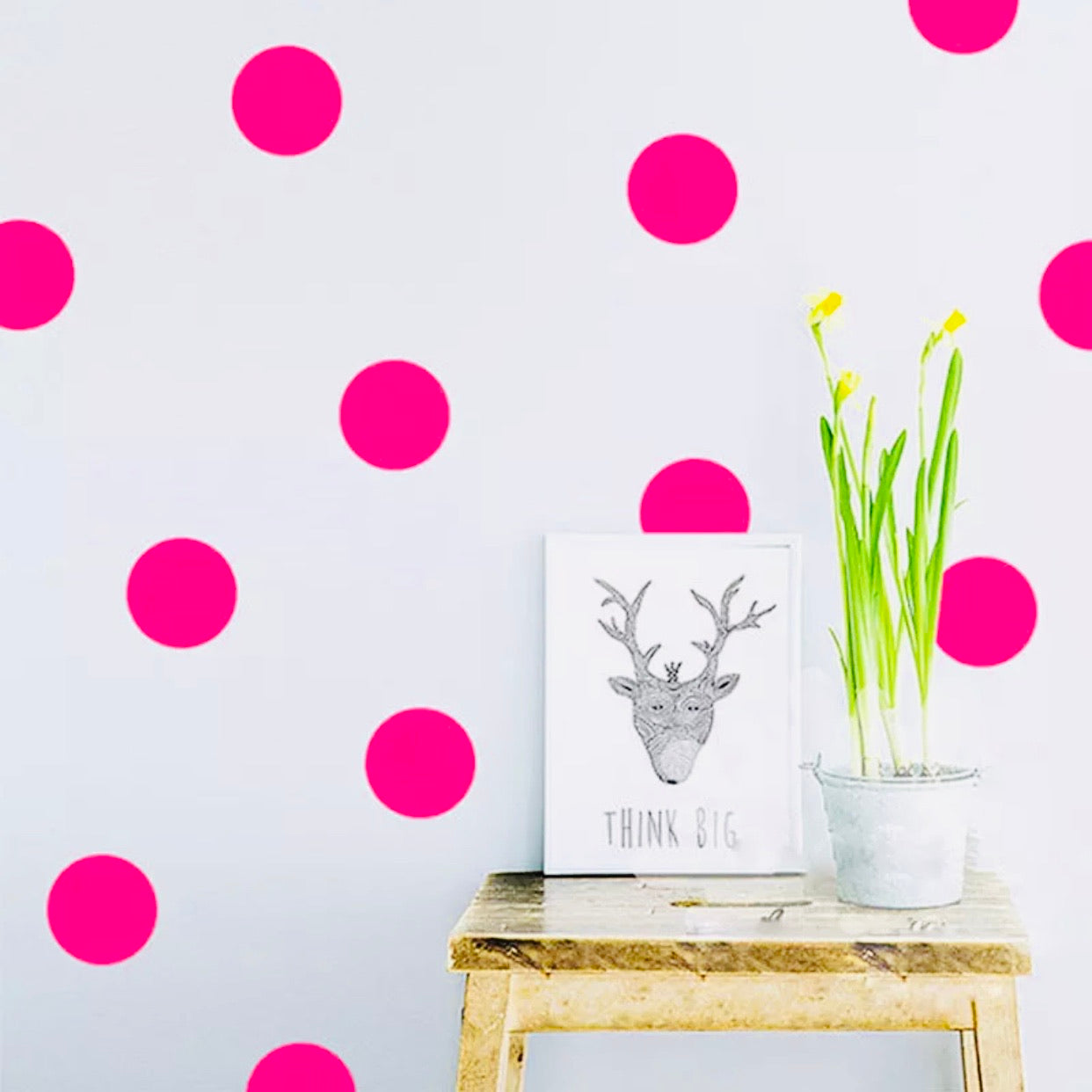 Neon Pink Dots Wall Stickers 72